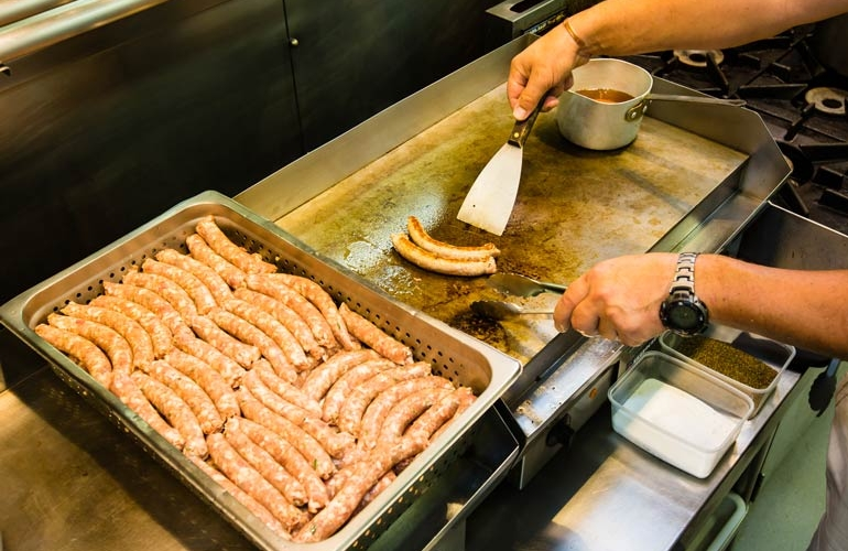 Cooking Pork Sausages | Off The Track | Havelock North | Family Friendly Restaurant