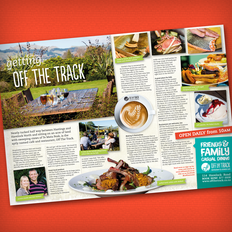 BayBuzz spread SEP/OCT 2014 showcasing off The Track, one of the many great Hastings Restaurants