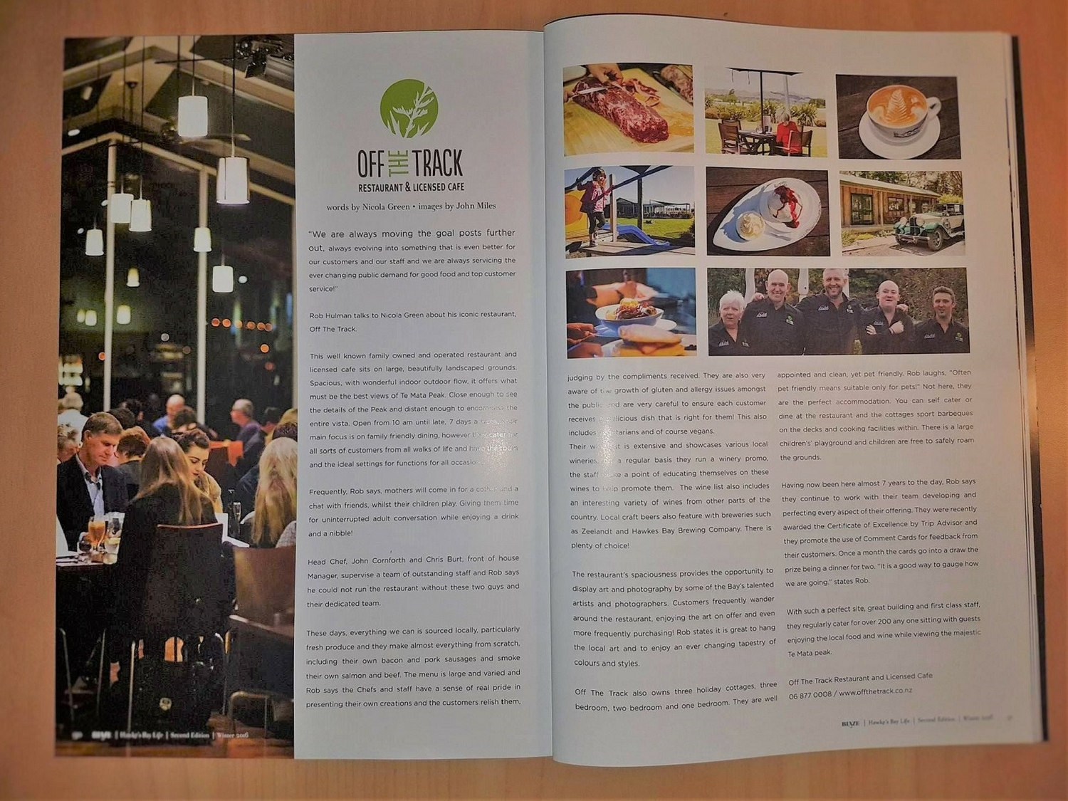 Hastings Restaurants like Off The Track are featured regularly in Blaze Magazine